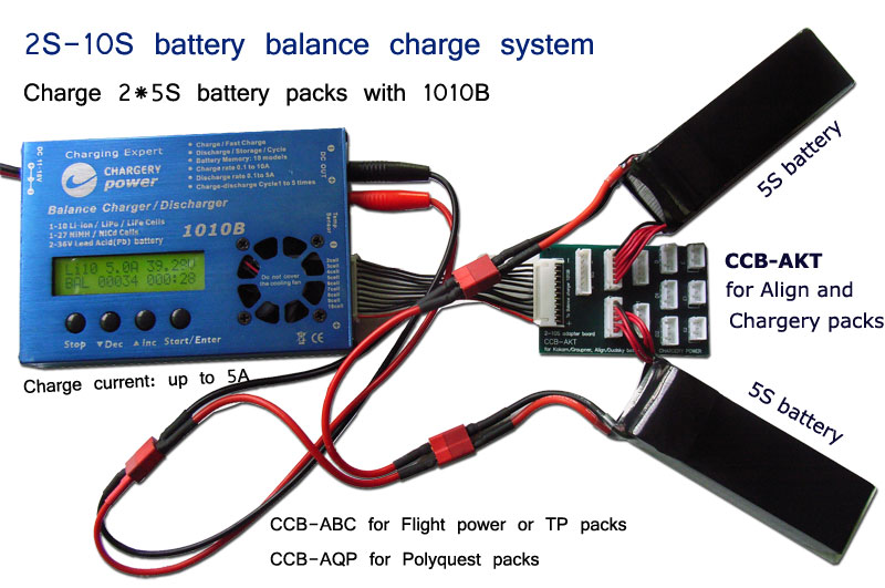 1010B can charge 2*5S, 2*4S, 3*3S, 3*2S battery packs